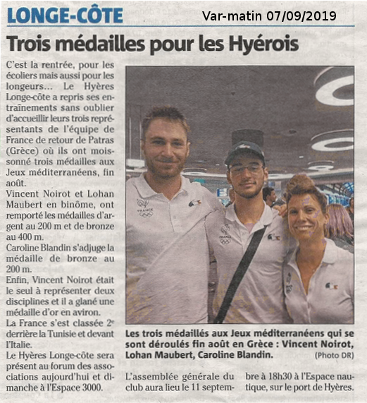 Article Var-matin 7 septembre 2019